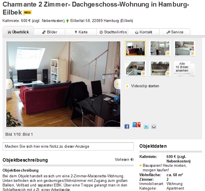 Charmante 2 Zimmer- Dachgeschoss-Wohnung In Hamburg-Eilbek