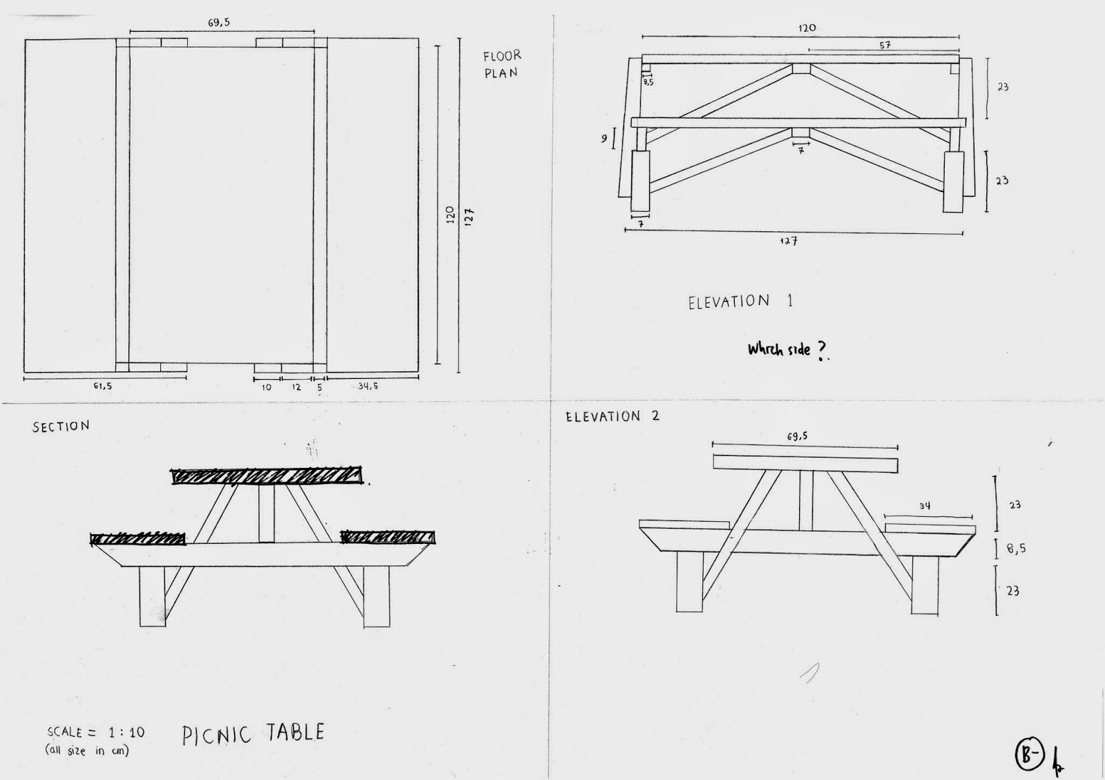 Plan Elevation Section Of Bus Stop : Table plan elevation section