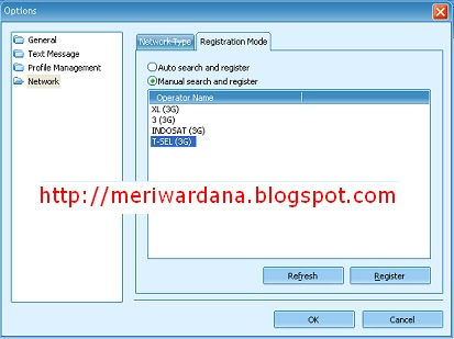 Gambar Setting Register 3G pada Modem Vodafone Mobile Partner