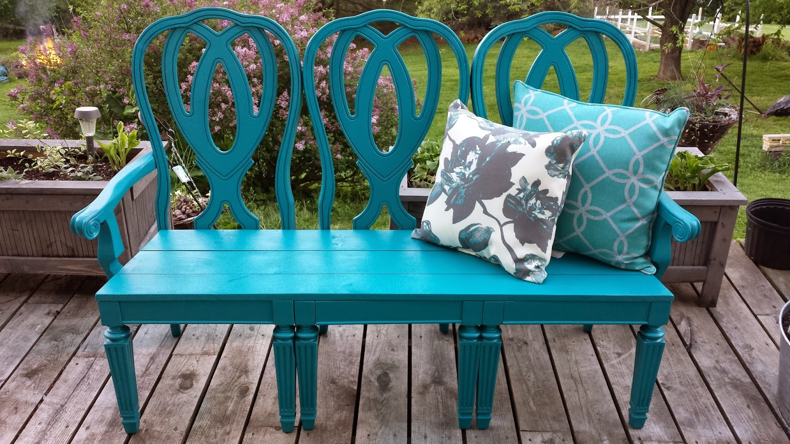 First Is The Project That Kicked Off This Blog! I Made A Garden Bench Out  Of Some Old Dining Chairs: