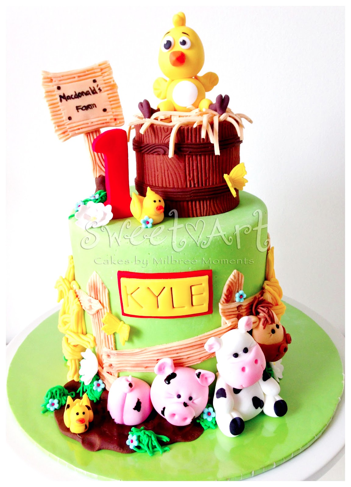Sweet Art Cakes By Milbre Moments Kyles Farm Animals 1st Birthday