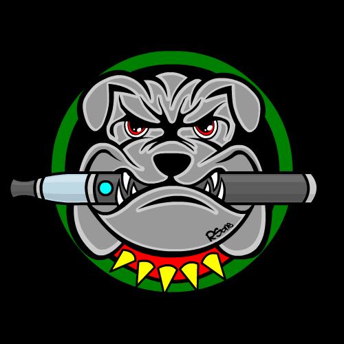 image des vapoteurs en colère un bulldog avec une E-cig dans la gueule