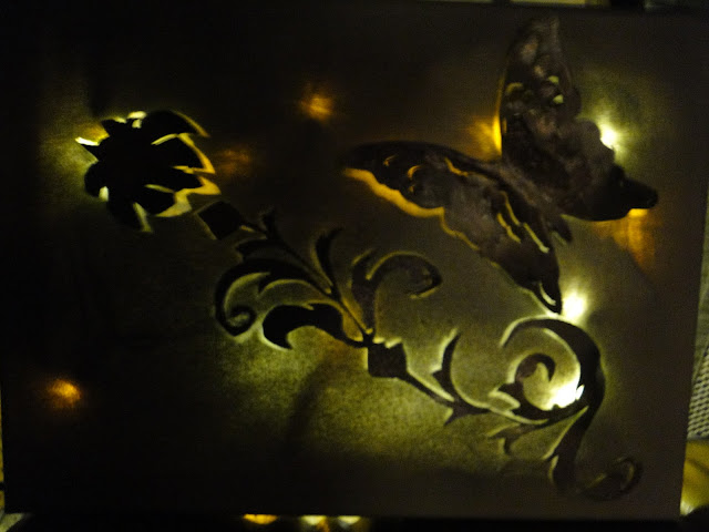 Butterfly Flowers Backlit Painting by Charity Luthy