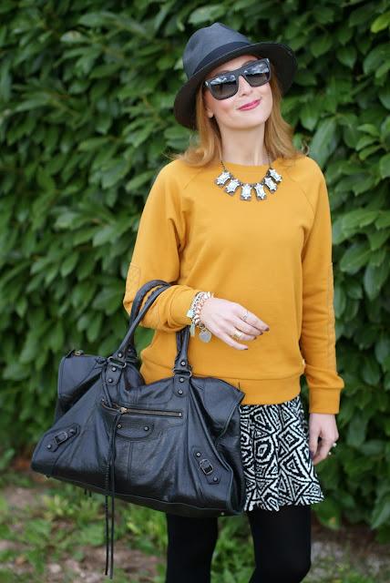outfits, mustard sweatshirt, balenciaga work bag, dolce & gabbana wayfarer, fashion and cookies, fashion blogger