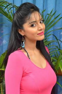 Sanam Shetty in Lovely Pink Short Dress at Kalai Vedhan Movie Team Interview