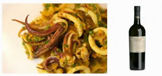 Sahrami-manteli-sherry -mustekalaa ja Manzanilla Pasada Pastrana - www.blancdeblancs.fi