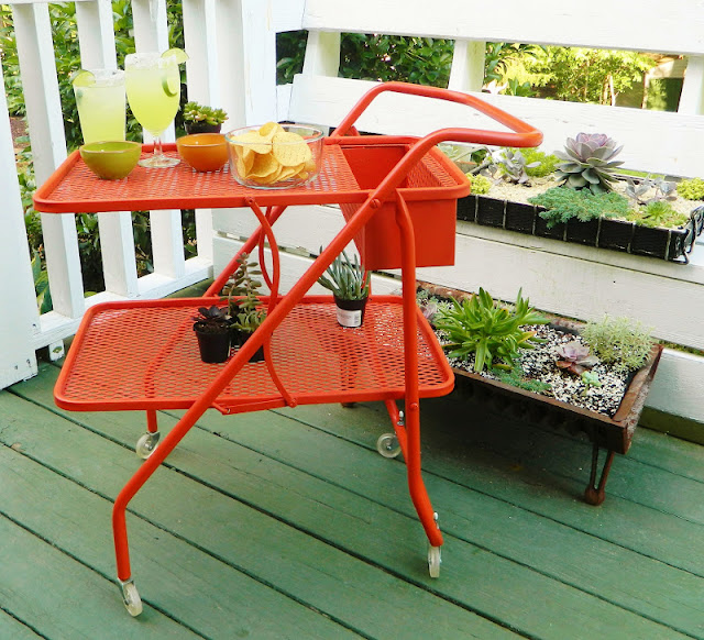 orange painted fold bar cart