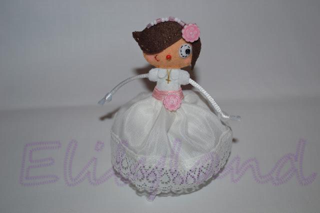 muñeca fieltro comunion mini-elily