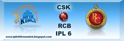 IPL 6 CSK vs RCB Highlight Match and CSK vs RCB IPL Full Scorecards