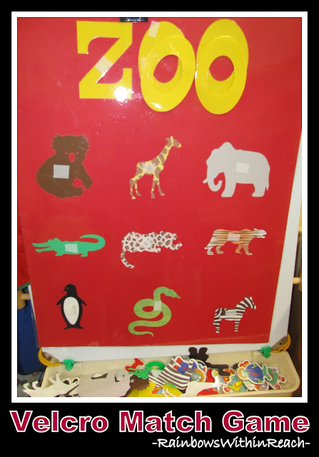 photo of: Zoo Velcro Matching Game on Easel (via Jungle + Zoo RoundUP at RainbowsWithinReach) 