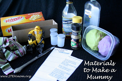 Materials Needed to Make a Simulate Mummy Making: STEMmom.org