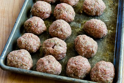 rolled meatballs for Low-Carb and Gluten-Free Turkey Meatballs with Romano Cheese and Herbs found on KalynsKitchen.com