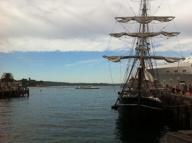 sailing tall ships on beautiful sydney harbour