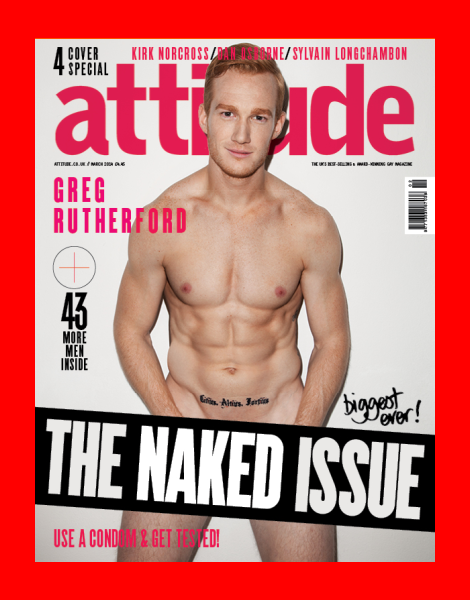 Olympian Greg Rutherford covers Attitude Magazine 'Naked Issue'