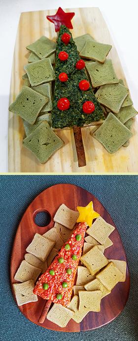 Uma Árvore de Natal comestível feita de queijo