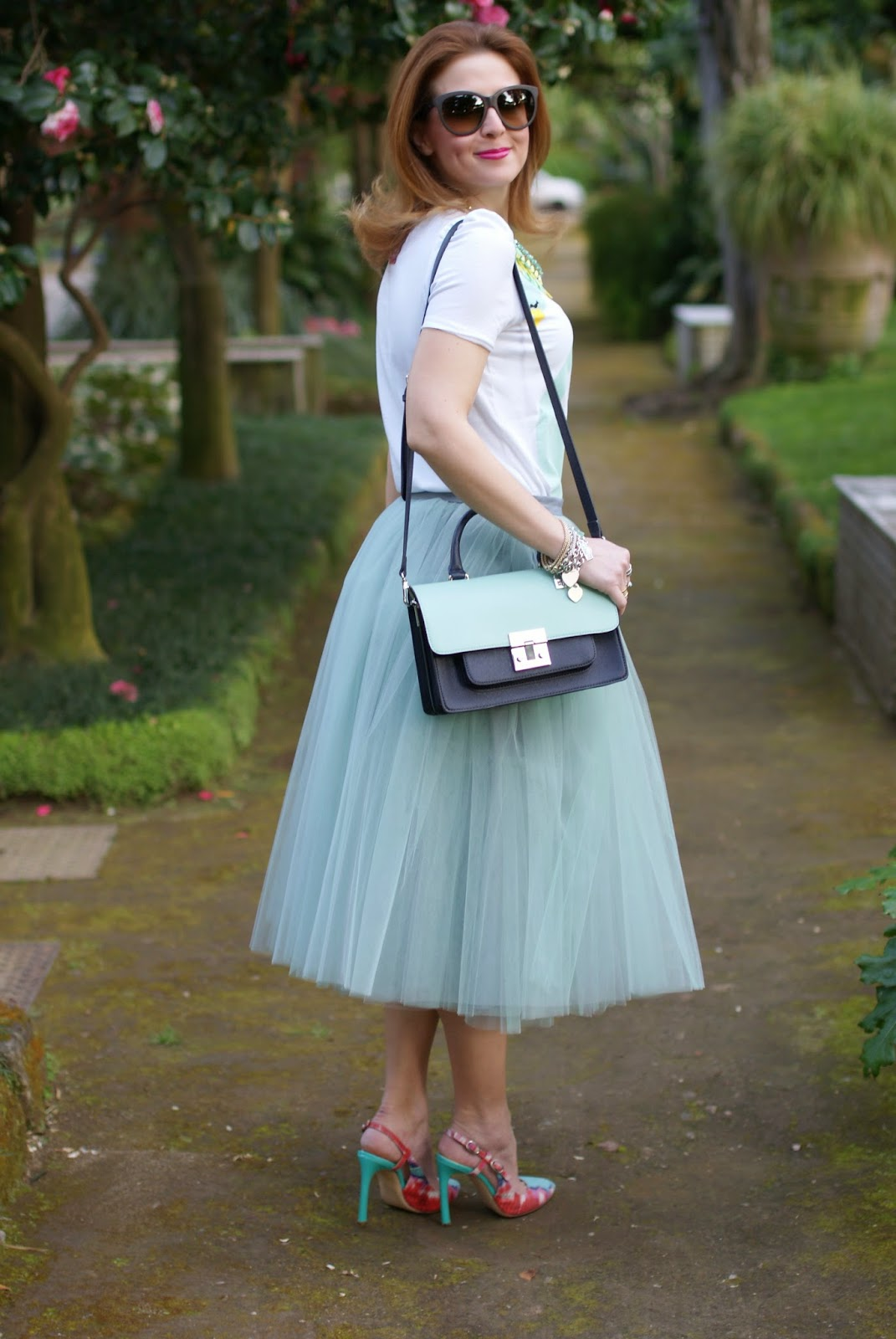 midi tulle skirt, mint tulle skirt, mint slingback heels, Fashion and Cookies, fashion blogger