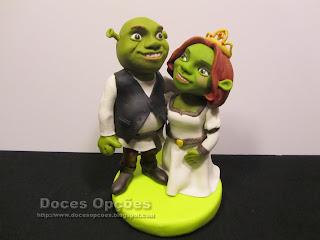 Topo de bolo de noivos Shrek e Fiona