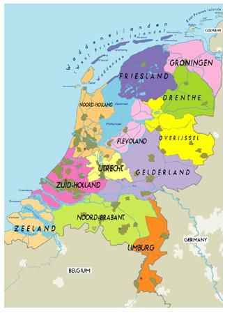 October 2011 Map of Netherlands Political Regional Province