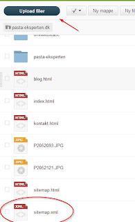upload sitemap (xml) på one.com