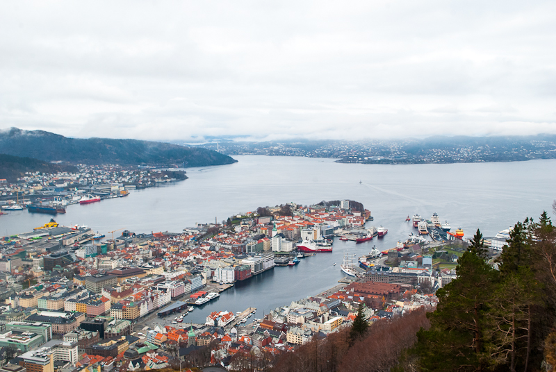 Panoramic view from mount floyen of bergen norway