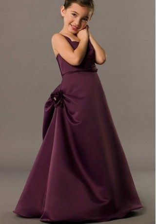 purple Satin Square A-line Long Junior Bridesmaid Dress