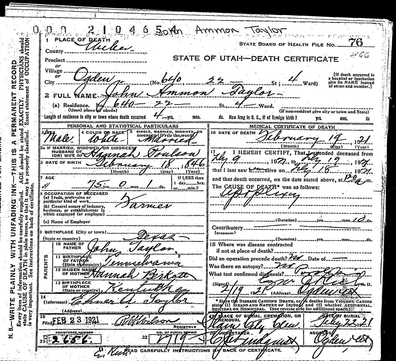 Deathcertificate taylorjohnag death certificate john ammon taylor xflitez Image collections
