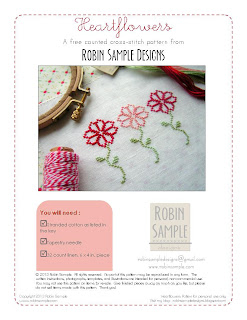 Heartflowers February Free Cross Stitch Pattern by Robin Sample