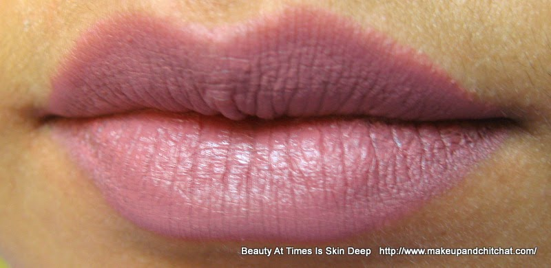 Swatch of Lakme 9to5 matte Lipsticks M3 Mauve Paced
