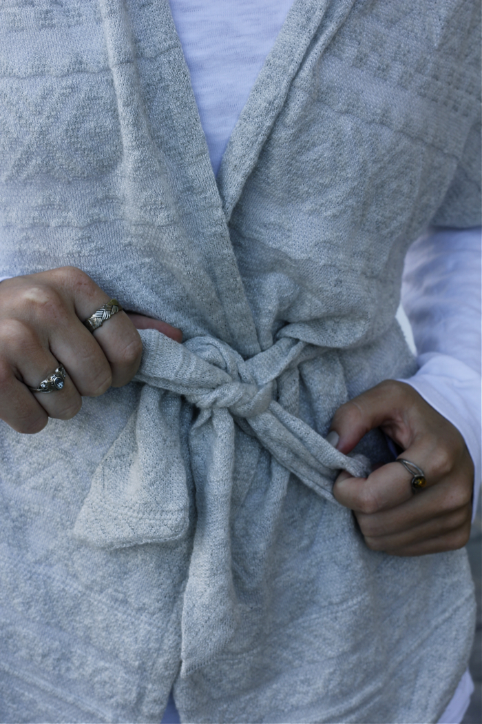 knotted, tied, cardigan, anthropologie, rings