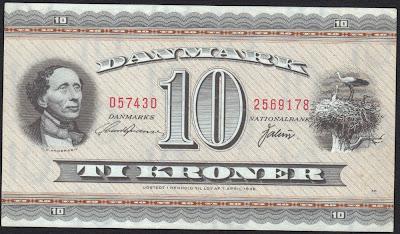 Danimarca 10 Kroner 1974 P# 44
