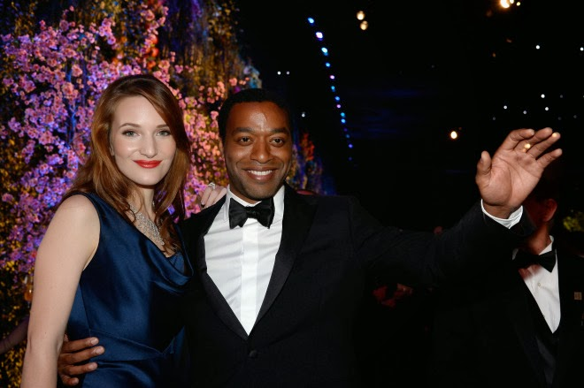 Chiwetel Ejiofor was all smiles at the Oscar parties despite going home empty handed.