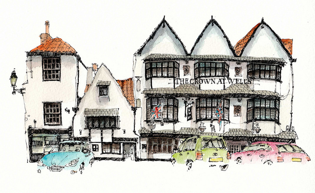 17-UK-The-Crown-at-Wells-Chris-Lee-Charming-Architectural-wobbly-Drawings-and-Paintings-www-designstack-co