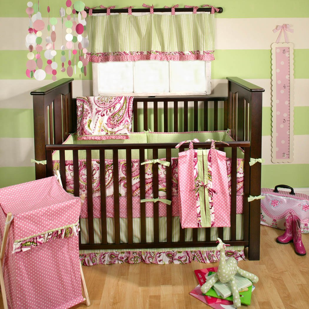 Pink Paisley Crib Bedding