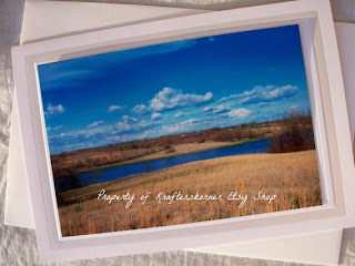 photo card lake and grassland missouri fall winter by KraftersKorner