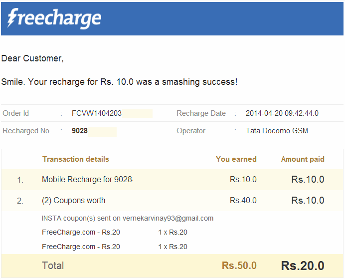 Freecharge discount coupons