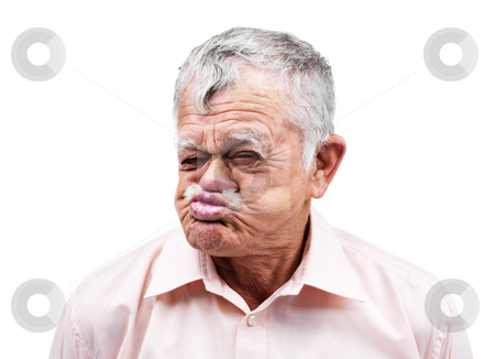 cutcaster-photo-100867103-Old-man-making-funny-face-on-white