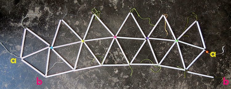 Diy straws lampshade ohoh blog now you must give volume to the lampshade youll tie the ends together just attach a with a and b with b look at keyboard keysfo Image collections