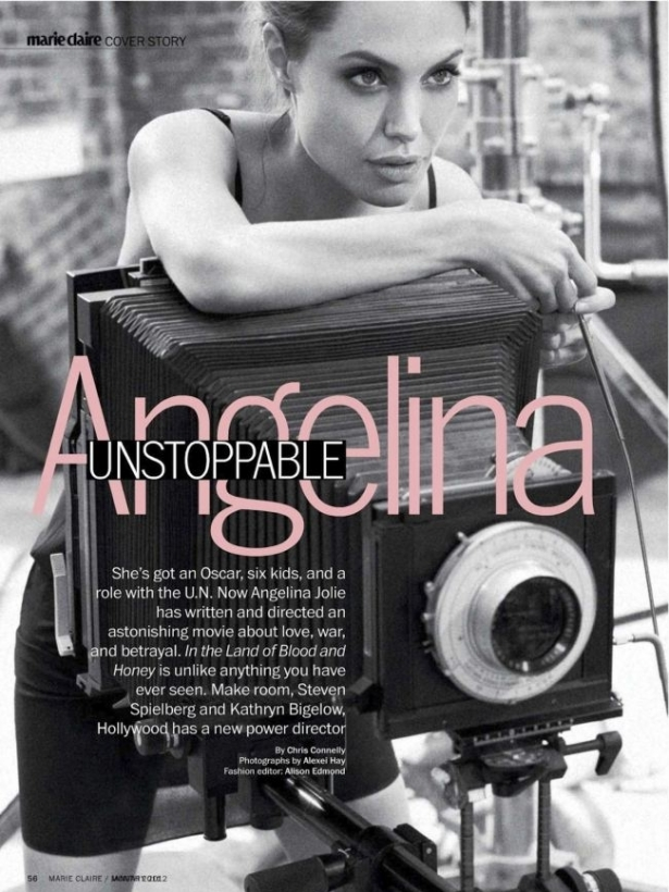 In the January 2012 Marie Claire issue Angelina Jolie 36 opens up about