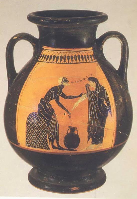L 39 ulivo nella storia le rappresentazioni nei vasi antichi for Vaso greco a due anse