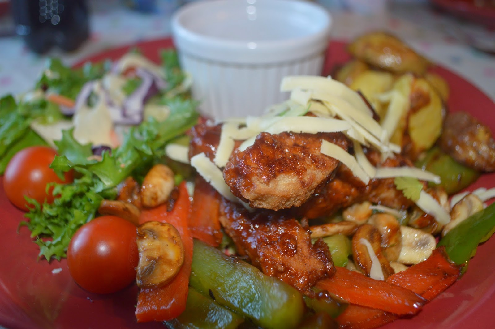 Heinz, Asda, Barbecue Chicken, Homemade Potato Wedges, BBQ Dip, Salad, Mushrooms, peppers, Stir Fry, Recipe, Food, healthy, #shop