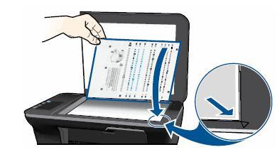 Расположите лист на стекле принтера