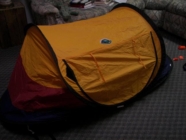 Mom gave Scout this tent as a play tent years ago...itu0027s a little one-man pop up tent made by Ozark Trails...and he definitely played with it...in the yard ... & strongu003eBackpacking Tent Makeover...u003c/strongu003e |Affectioknit