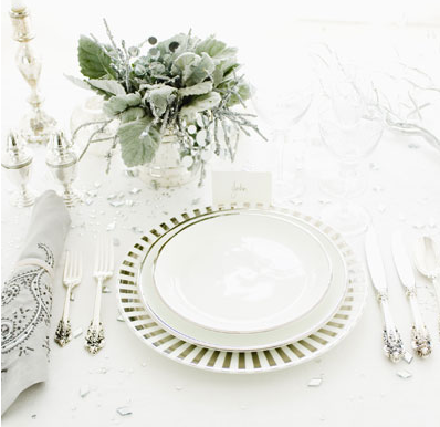 silver decorating Christmas table