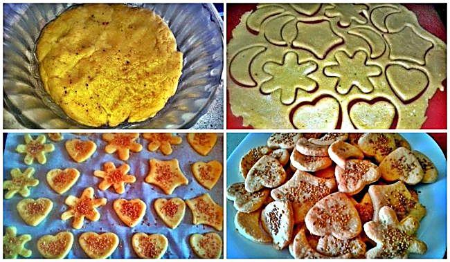 Preparación de las galletas saladas con semillas de sésamo