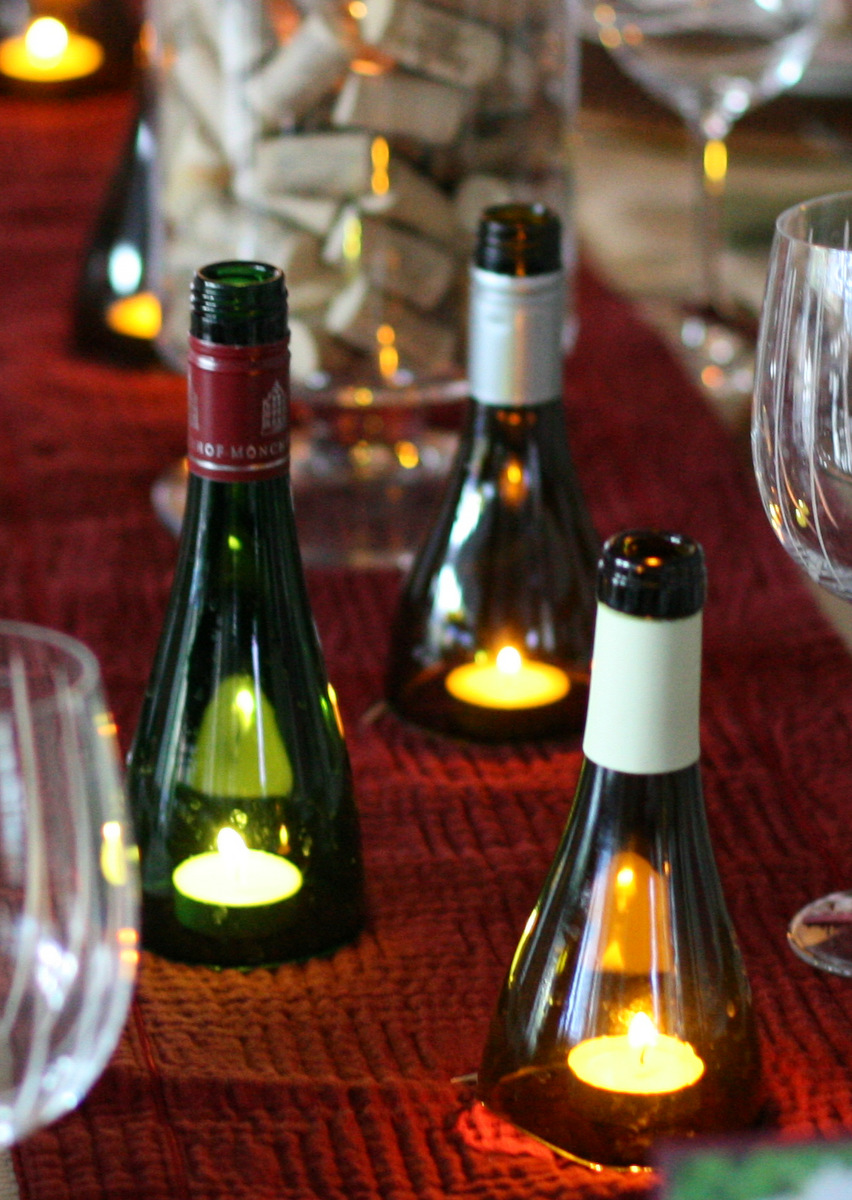 invite and delight diy wine bottle candles