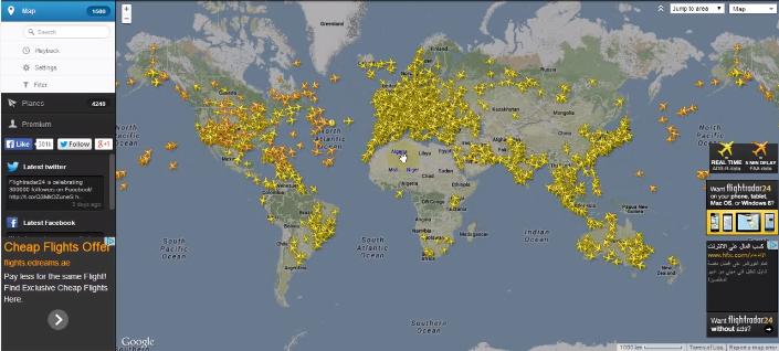 تابع حركة الطائرات حول العالم