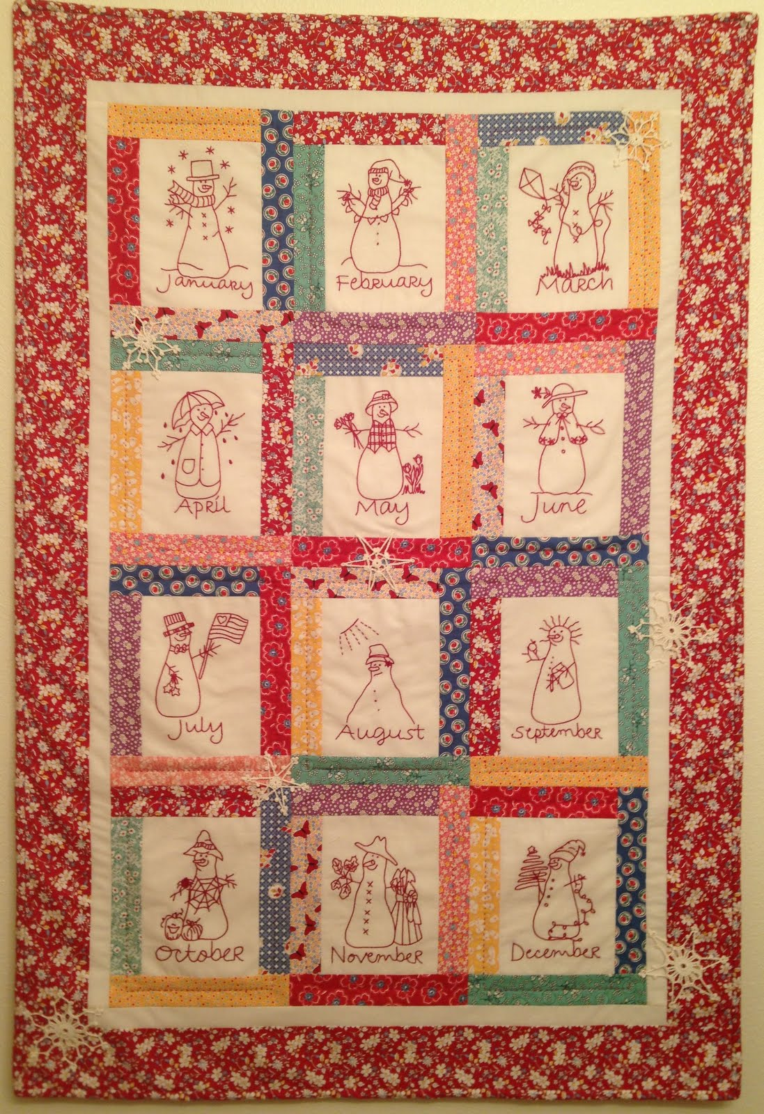 Redwork Quilt Patterns Christmas : Starwood Quilter: Redwork Snowmen Calendar Quilt - Two ...