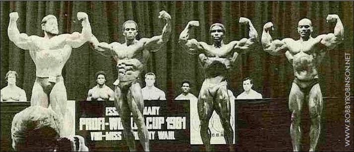 "Kalman Szkalak, Serge Nubret, Robby Robinson and Sergio Oliva Pose down at WABBA Pro World Cup 1981 - front double biceps Read about RR's training and life experience, about other legends of Golden Era  of bodybuilding and what really happened behind the scenes of Weider's empire  in RR's BOOK ""The BLACK PRINCE; My Life in Bodybuilding: Muscle vs. Hustle"" ● www.robbyrobinson.net/books.php ●"