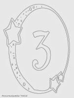 Mewarnai angka 3 bergaya bulan dan bintang