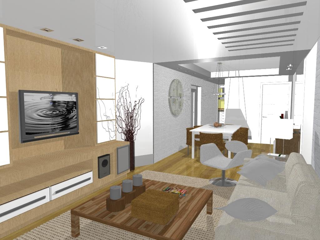 #64492B  sala de estar. Rack com painéis que são portas de abrir para  1024x768 px Sala De Cozinha De Design De Interiores_423 Imagens